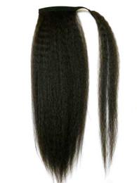 Обернутый в волосы конский хвостик онлайн-Человеческие волосы хвост кудрявый грубые шиньоны девственные бразильские волосы естественный удар из кудрявый Яки прямо обернуть вокруг хвостики наращивание волос