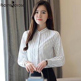c9afd4887b4d7 2018 New Long Sleeve Women s Clothing OL Blouse O-neck Chiffon Womens  Blouse Shirt Slim Striped Women Tops blusas Work Wear
