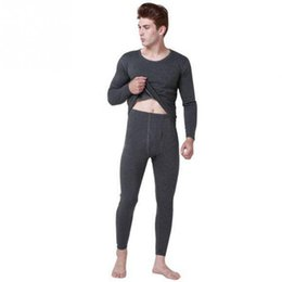 Wholesale Thermals Suits - Men Winter Warm Thermal Underwear Suits Males Thicken Pullover Tops and Pants Set