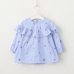 Wholesale Pink Ruffle Blouse Top - Baby Girls Striped Blouse Kids Girls Fashion Printed Stars Shirts Babies Spring Ruffles Jumper tops 2018 Kids Clothing