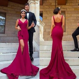 Wholesale Cheap Womens T Shirts - Sexy High Split Bridesmaid Dresses Cheap Custom made Maids Honor Gowns V-Neckline Long Prom Mermaid Cocktail Dress for Womens