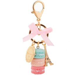 2019 держатели башни EASYA France Paris 5 Colors Cute Macaroon Effiel Tower Macarons Keychain Colorful Keyring Bag Pendant Car Charm Key Holder дешево держатели башни
