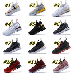 Wholesale Ash Brand - Free Shipping Brand New Ashes Ghost Lebrons 15 Mens Shoes Lebron Black Golden Casual Shoes James US Size 7-12