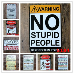 Wholesale family bathrooms - Warning No Stupid People Toilet Kitchen Bathroom Family Rules Bar Pub Cafe Home restaurant Decoratio Vintage Tin Signs Retro Metal tin Sign