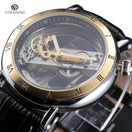 антикварные мужские часы Скидка 2017 FORSINING модные часы мужские роскошные Roma Case прозрачный скелет автоматический механический Кожаный ремешок античные наручные часы