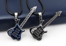 Wholesale Christmas Classics Music - Upgrade Supply fashion black blue music guitar necklace Pendant Necklaces men's jewelry men necklaces Black wax rope chain mix Classic style