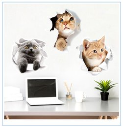 Wholesale green walls kitchen - Lovely 9 Styles Cat Wall Stickers Wallpaper Papier Peint 3d for Home Decor Bathroom Kitchen Accessories Household Suppllies