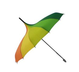 Wholesale Rainbow Umbrellas - 50pcs Fashion Rainbow Pagoda Palace Creative Umbrella Sun Rain Lady Princess Royal Long-handled Straight Golf Umbrella