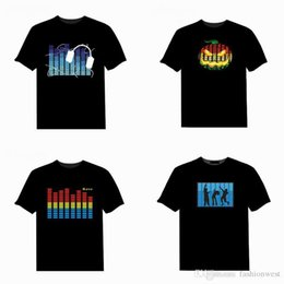 Wholesale shirt sound - t shirts Led T Shirt Sound Control Iron Man Fashion Creative LED Custom Music Flash Clothing Spectrum Dancer Activated Visualizer