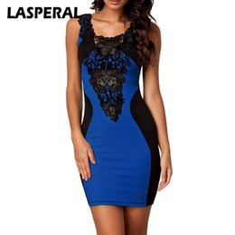 Wholesale Hip Cocktail Dresses - LASPERAL New 2018 Women Dress Sleeveless Slim Hip Sexy Lace Patchwork Dress Bodycon Dresses Women Cocktail Party Vestidos