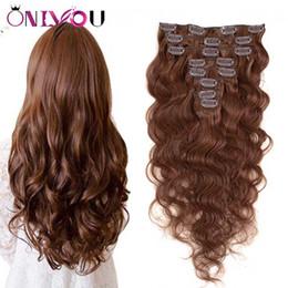 clips para el pelo humano Rebajas Indian Virgin Body Wave Clip en extensiones de cabello humano # 4 Brown Full Head recto sin procesar Remy Clip de cabello humano ins Extensiones 8pecs / set