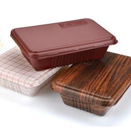 Commercio all'ingrosso 300pcs creativo di grano di legno di design contenitore di cibo usa e getta Snack Packing Scatole di microuso PP Bento Box da