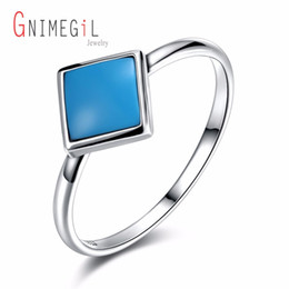 Wholesale vintage sterling turquoise - GNIMEGIL High quality 925 Sterling Silver Square jewelry rings for women,Simple Vintage Blue color ring jewelry turquoises