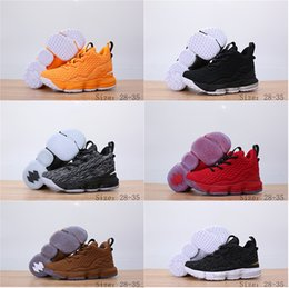 Zapatillas de baloncesto naranja niños online-Barato LeBron 15 15S Zapatos de baloncesto niño niña regalo James 15 Orange Box Baby Kids Maternity Baby First Walkers Tamaño 11C-3Y