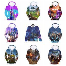 Wholesale 3d animal sweatshirts - 10styles Men 3D printed Fortnite Cartoon Hooded Pockets Pullover Sweatshirt Sweat fashion Gaming Hip Hop Cap Hoodies FFA465 5pcs