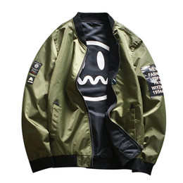 Argentina Bomber Jacket Men Pilot con parches Green Ambos Side Wear Thin Pilot Bomber Chaquetas Wind Breaker Jacket Hombres 2018 new large size supplier both sides jackets Suministro
