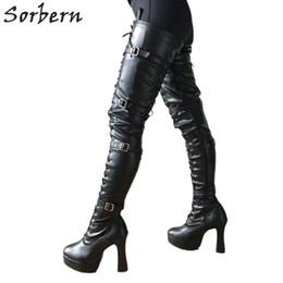 Сапоги на высоких каблуках онлайн-Оптовая коренастый каблуки 12 см каблуки сапоги для женщин платформы кружева промежность бедра высокие пинетки гот панк Pinup косплей фетиш загрузки