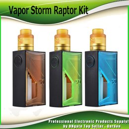 Wholesale vapor storm - Authentic Vapor Storm Raptor Squonk Starter Kits 18650 20700 Battery Squonker Box Mod BF RDA 5ml Oil Bottle Atomizer Kit 100% Genuine