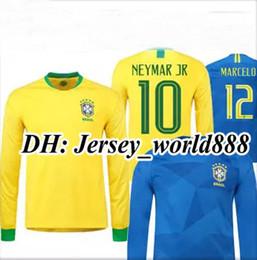 Wholesale Long Sleeves Football Jersey - P.COUTINHO PAULINHO MARCELO RONALDINHO DAVID LUIZ G.JESUS NEYMAR JR 2018 World Cup Soccer Jersey Brazil Long sleeve home Away Football shirt