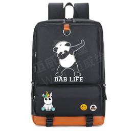 Wholesale cartoon girl panda backpack - Dab life backpack Unicorn school bag Dance panda daypack Quality schoolbag Outdoor rucksack Sport day pack