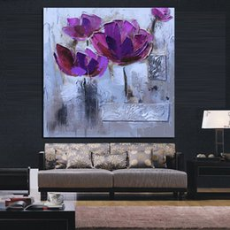 Wholesale Purple Wall Canvas - Print Modern Abstract Knife Purple Poppies Oil Painting on Canvas Pop Art Poster Wall Picture For Living Room Sofa Cuadros Decor