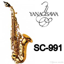 Wholesale Soprano Saxophone Reeds - YANAGISAWA SC-991 Curved Soprano Saxophone Gold Lacquer Brass Sax Professional Mouthpiece Patches Pads Reeds Bend Neck
