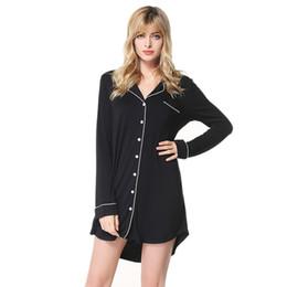 Ropa interior de solapa online-Otoño pijamas de manga larga de las nuevas mujeres de las mujeres más tamaño de las señoras solapa ocasional camisón S-2XL pijamas de las mujeres ropa interior atractiva de 4 colores