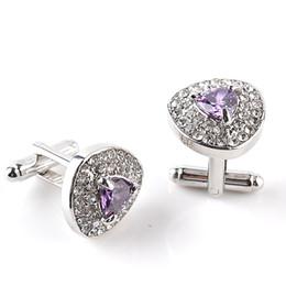 Wholesale Silver Purple Cufflinks - Classic Luxury Crystal Cufflinks For Mens Shirt Light Purple Zircon Cufflinks High Quality Fashion Swarovski Brand Jewelry Design