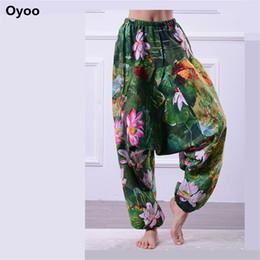 Wholesale Black Lotus Clothing - Oyoo Women's Floral Print High Waist Harem Pants Bohemia Lotus Yoga Pants Gym Clothes Linen Plus Oversize Dance Fitness