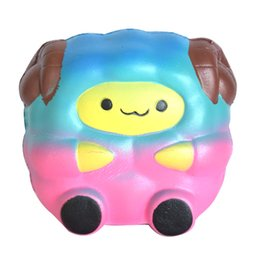 Wholesale Doll Phones - 20Pcs lot Kawaii Colorful Rainbow Sheep Squishy Toys Phone Strap DIY Decor Soft Slow Rising Kid Toy Jumbo Cartoon Pink Animal Doll