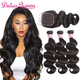 Wholesale Remy Virgin Hair Extensions - 8A Brazilian Body Wave Human Hair Weaves 3 Bundles With Lace Closure Unprocessed Brazilian Virgin Hair Brazillian Remy Human Hair Extensions