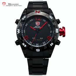 Wholesale Shark Sport Watch Digital - Bullhead SHARK Sport Watch Black Steel Metal Band Digital LED Date Alarm Red Montre Water Resistant Quartz Army Timepiece  SH101
