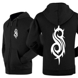 Schwarzes Slipknot Sweatshirt für Männer Langarm Strickjacke mit Kapuze Hoodie Mantel Hip Hop Streetwear Frühling Herbst Fleece Hoodies Jacke WWH0406 von Fabrikanten