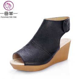 Wholesale Chinese Wedges Shoes - MUYANG Chinese Brand Summer Open Toe Shoes Woman Genuine Leather Wedge Platform Sandals Fashion 2017 Casual Wedges Women Sandals