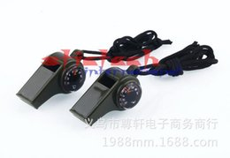 Wholesale Thermometer Dhl - by dhl or ems 200pcs New black Whistle Compass 3 in1 Survival Camping Thermometer new brand