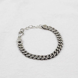Wholesale Heavy Clay - Silver S925 sterling N chain flat chain old heavy personality exaggerated silver bracelets gold chain necklace jewelry