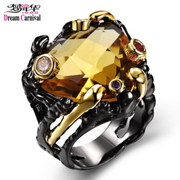 Intera venditaDreamCarnival 1989 Unique Vintage Black Rings per le donne Color oro Big Champagne Zircon Wedding Engagement Jewelry anillos mujer supplier champagne color rings da anelli di colore champagne fornitori