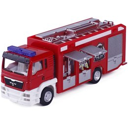 Wholesale toys model fire car - R 1:64 Fire Engine Model Alloy Car Toy Fire Truck Water-Tank Lorry Children's Favorite Toys Holiday Gift Toy Vehicles Kids