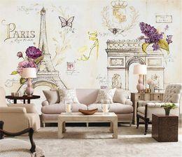 Papier peint tour eiffel en Ligne-Personnalisé Taille Photo 3D Paris Fer Tour Eiffel papier peint Château salon chambre restaurant Café mural papier peint