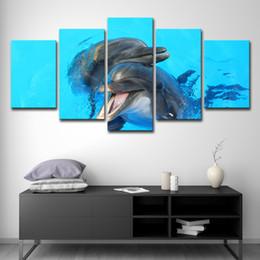 pinturas de delfines Rebajas Fotos de lienzo Decoración para el hogar 5 unidades Dolphin Sweetheart Paintings HD Prints Marine Animal Posters Arte de la pared de la sala de estar