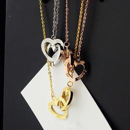 Новое прибытие 316L нержавеющей стали цепи ожерелье с двойной сердца подключения для женщин и День матери подарок ювелирные изделия в 48 см бесплатно shippin от Поставщики ожерелье 48 дней
