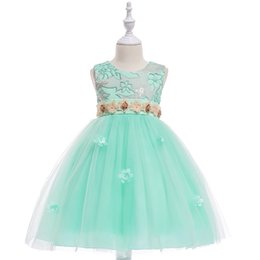 Vestiti di chiffon delle ragazze dei fiori della perla online-Gonna per abito da sposa in tridimensionale con fiore perla