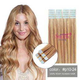 Wholesale golden blonde hair extensions - dark blonde brown tape in hair extensions 24 inches tape in human hair extensions 100grams P10 24 Golden Brown Light Strawberry Blonde
