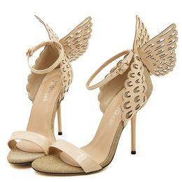 Bowtie d'oro viola online-donna tacchi alti Peep Toe Sandali a stiletto Ali di farfalla Bowtie scarpe da donna celebri Décolleté Viola Oro Beige