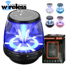 Wholesale Led Wireless Speakers - universal Wireless Bluetooth Speakers Powered Subwoofer LED Light Support TF Card FM MIC Mini Digital Speaker car hands-free calls M28