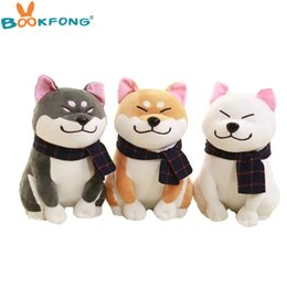 Wholesale Wholesale Teddy Bears For Valentines - Wholesale-BOOKFONG 1PC Wear scarf Shiba Inu dog plush toy soft stuffed dog toy good valentines gifts for girlfriend 25cm 9.84''