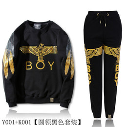 Wholesale Men S Cashmere Sweaters - Gold eagle wings T-shirt BOY winter sweater cashmere loose cotton with men and women couples