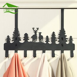 Wholesale Iron Stocking Holders - New Carton Design Metal Iron Robe Hooks With 8 hooks Wall Decor Hat Coat Clothes Hangers Storage Rack Key Holder Home Organizer