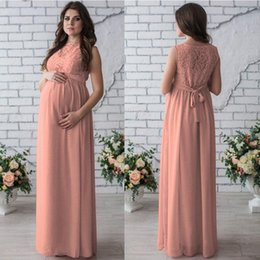 Wholesale Pregnancy Lace Long Dresses - 2018 New Arrival Lace Maternity Dresses Sleeveless Maternity Photography Props Women Long Maxi Dress Sexy Gown Lace O-Neck Pregnancy Dress
