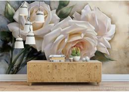 2020 fondo de pantalla de la casa blanca 3D estéreo romántico rosa blanca pintura al óleo Wallpaper habitación de la boda dormitorio ropa de cama Wallpaper Hotel Guest House fondo de la pared rebajas fondo de pantalla de la casa blanca